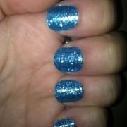 My Blue Glitter Incoco nails