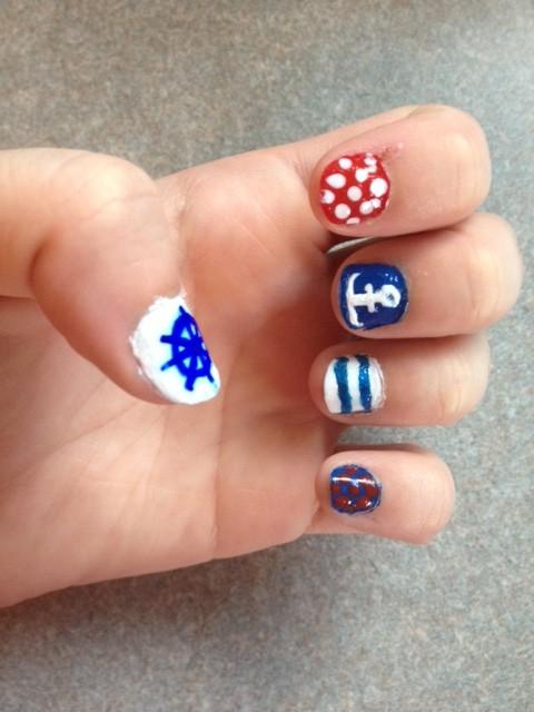 Left Hand- Anchor & Wheel nails