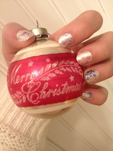 Pink Purple Christmas Nails