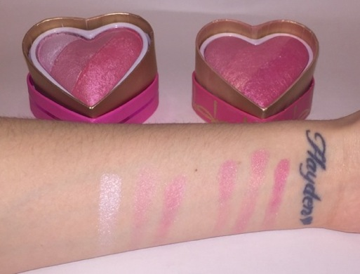Too Faced Sweethearts blush dupe swatches